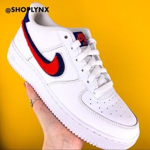 Nike Air Force 1 Low 3D Chenille Swoosh White Red